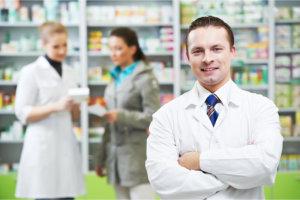 pharmacists entertaining their customer